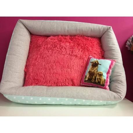 Pelíšek růžový chlupatý polštář