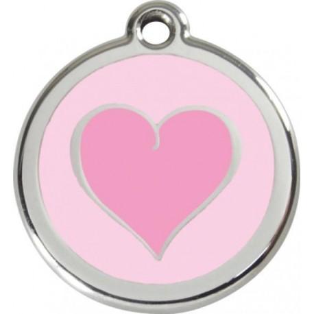 Známka malá 20 mm - Srdce - Růžová - s rytím