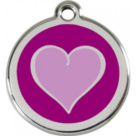 Známka malá 20 mm - Srdce - Fialová - s rytím